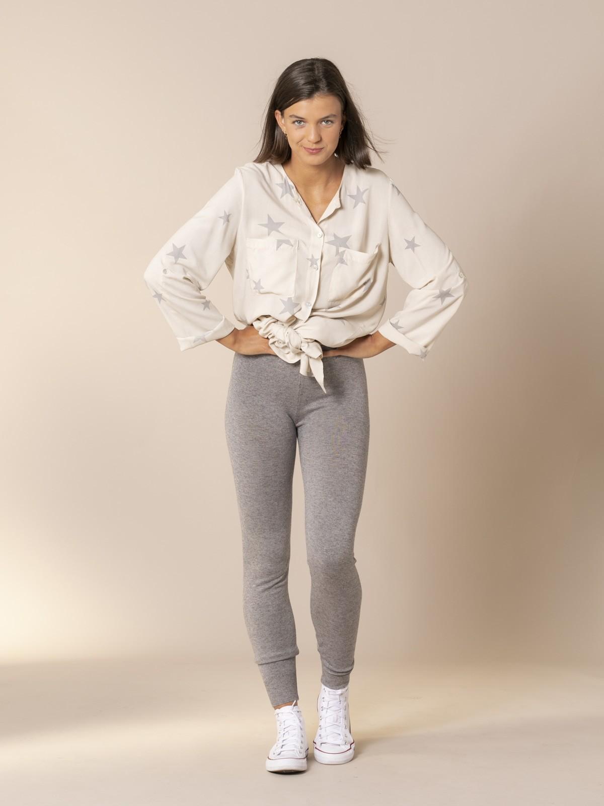 Pantalón mujer de punto bajo elástico Gris