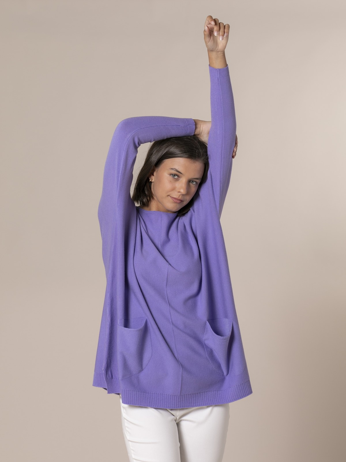 Woman Knitted sweater with pockets Lila