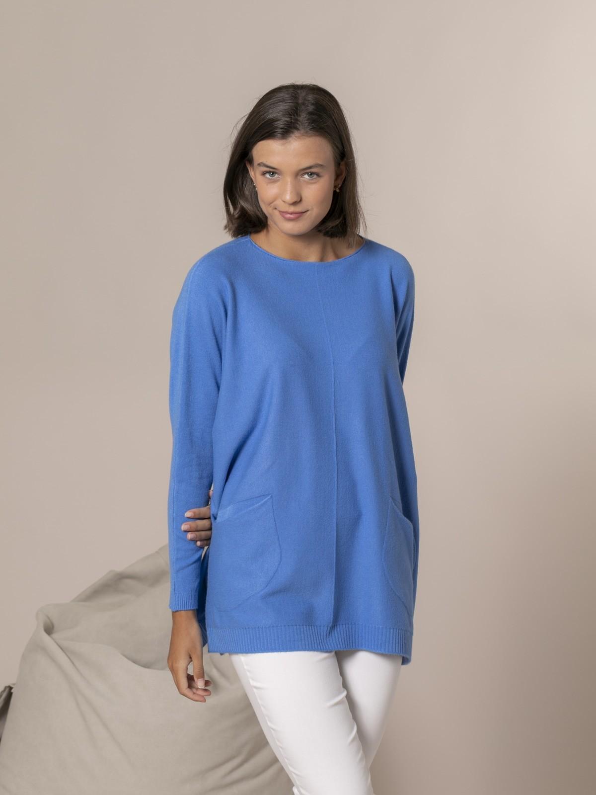 Jersey mujer punto bolsillos Azul