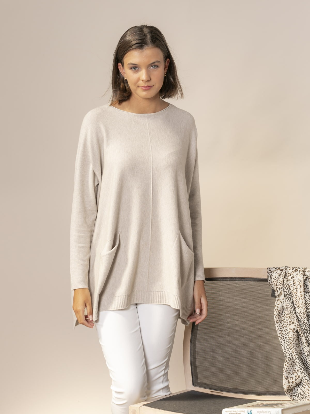 Woman Knitted sweater with pockets Beige