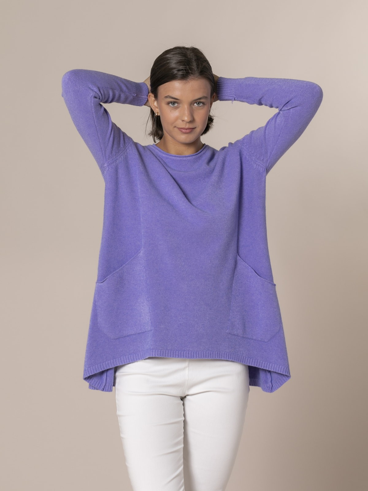 Jersey mujer punto oversize Lila
