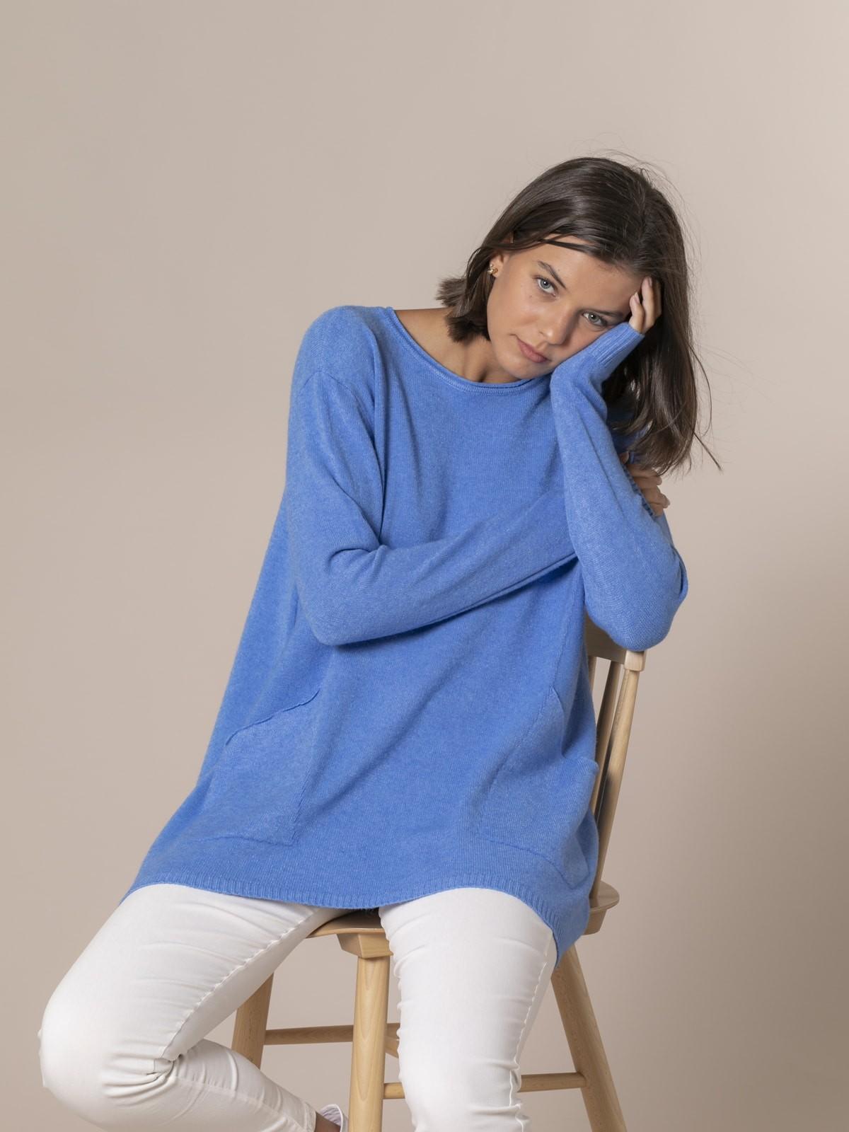Woman Oversize knit sweater Blue