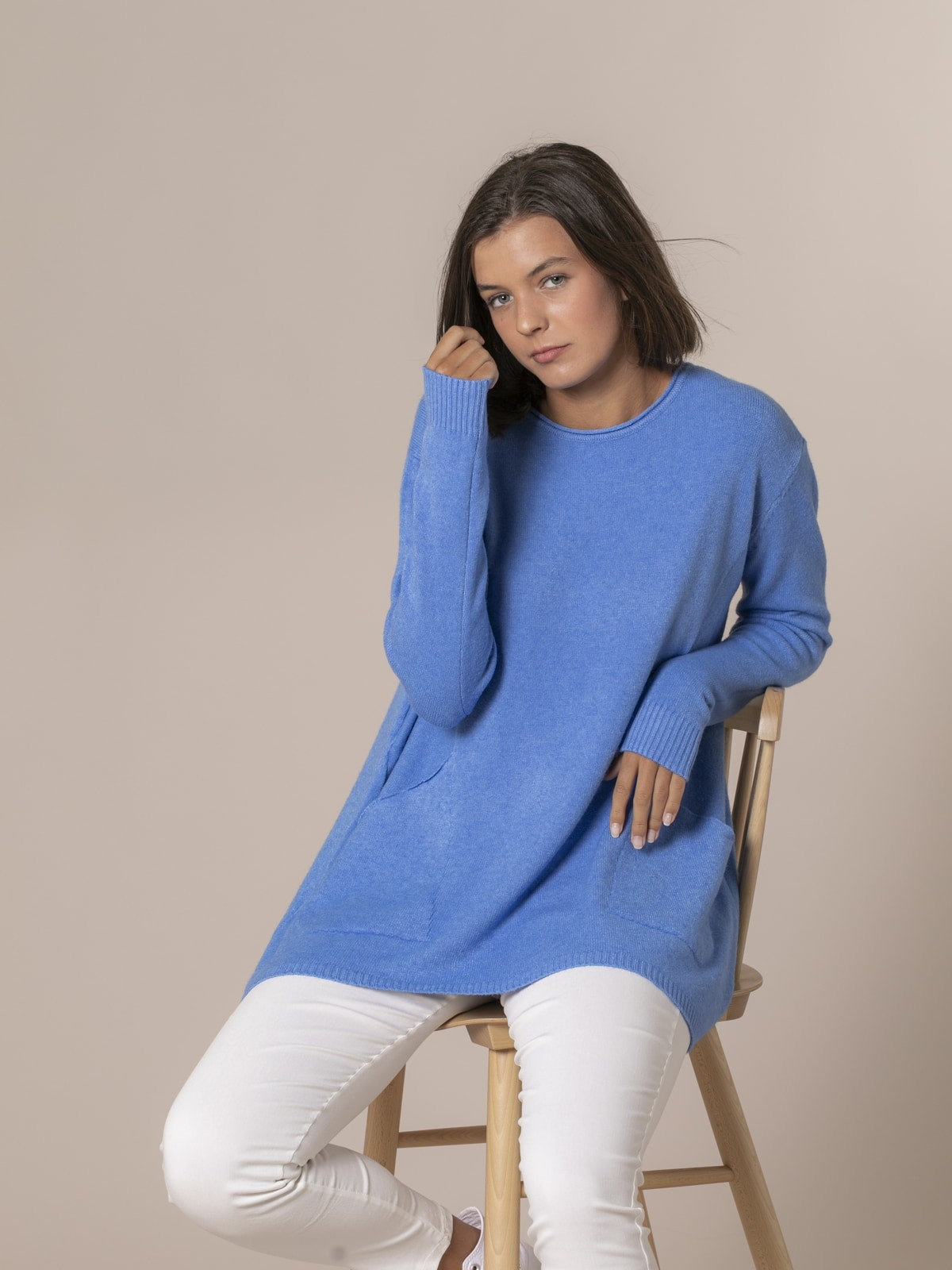 Jersey mujer punto oversize Azul