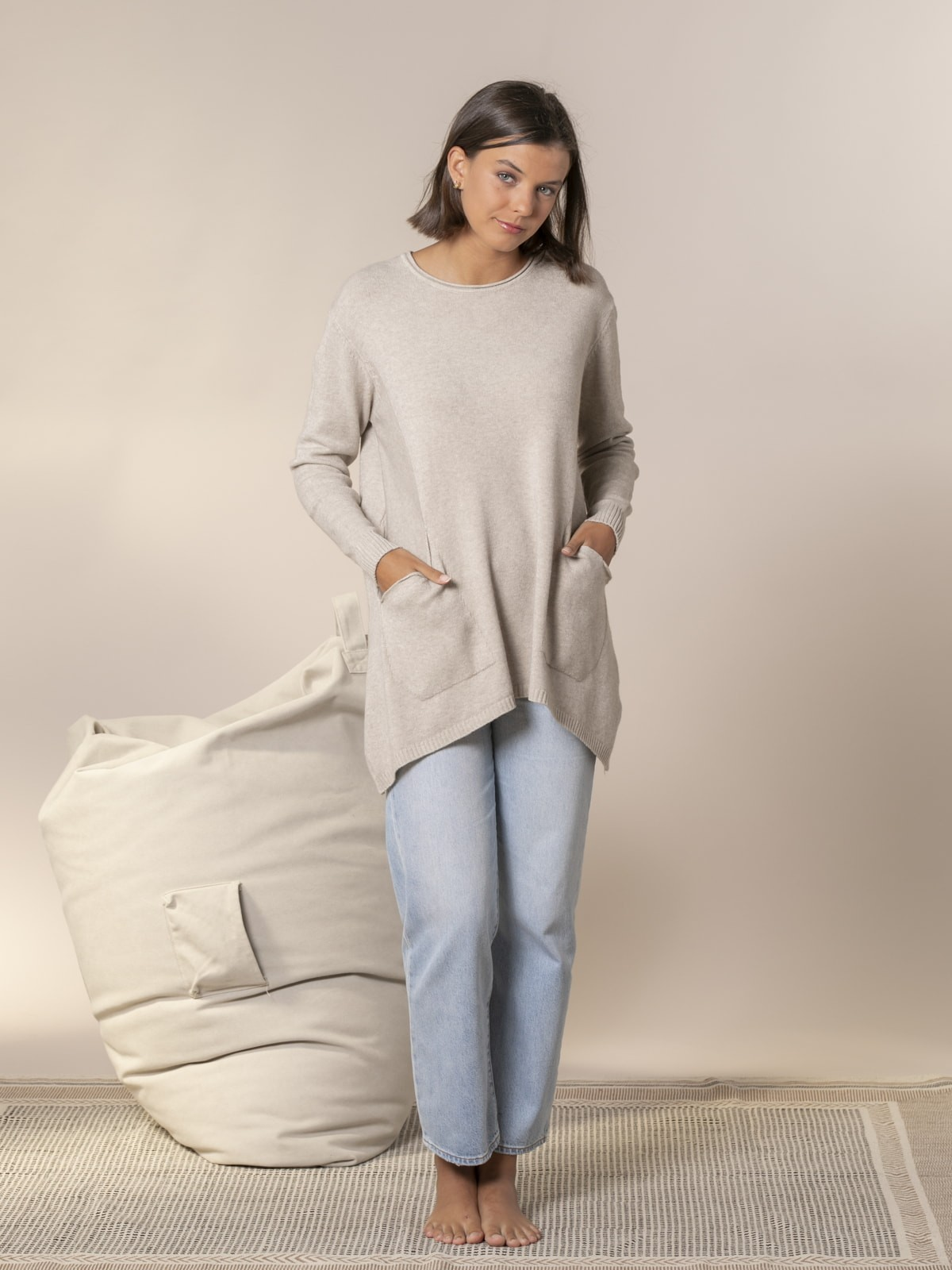 Jersey mujer punto oversize Beige