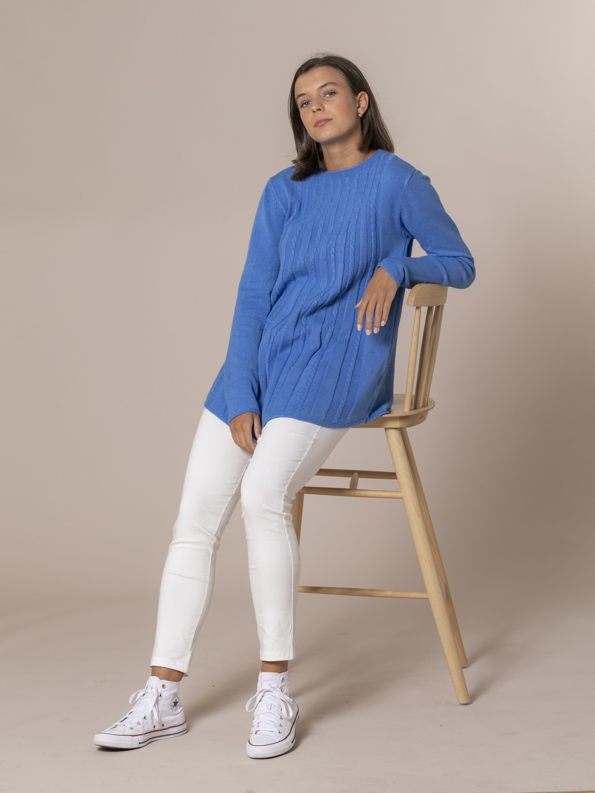 Woman Cable knit sweater Blue