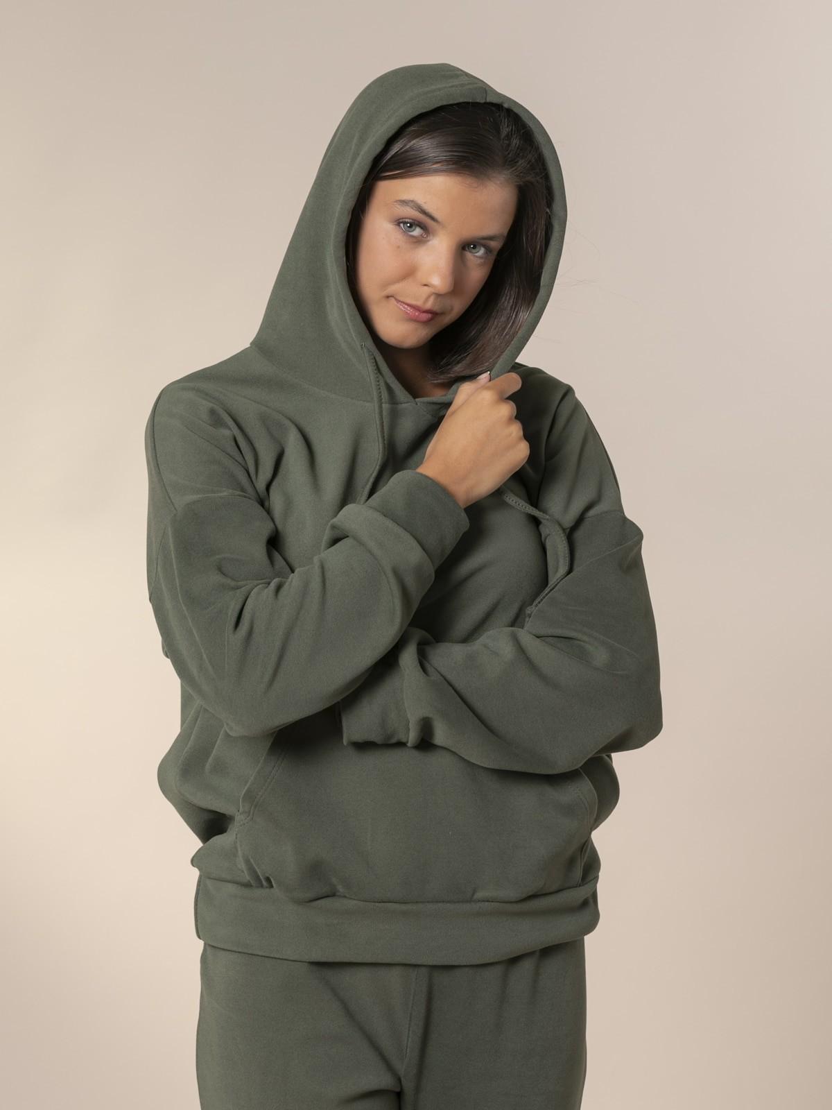 Woman Basic fleece sweatshirt Khaki