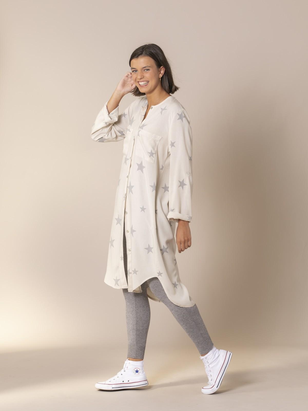 Woman Stars shirt dress Beige Claro