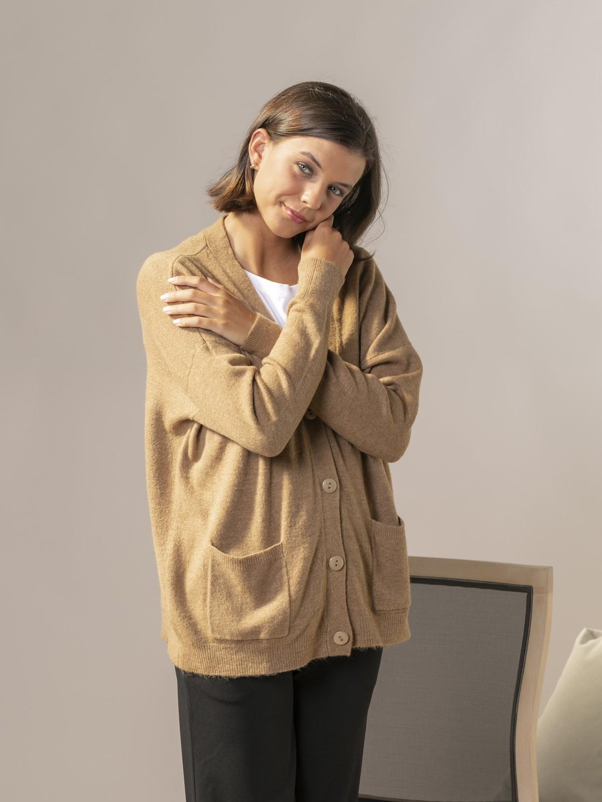 Woman Dolce knit cardigan Camel