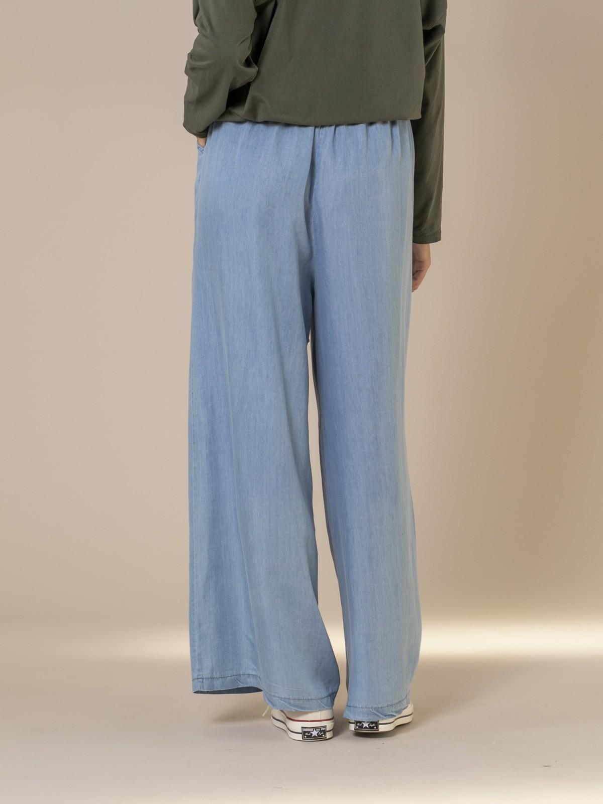 Pantalón tencel mujer Azul Claro
