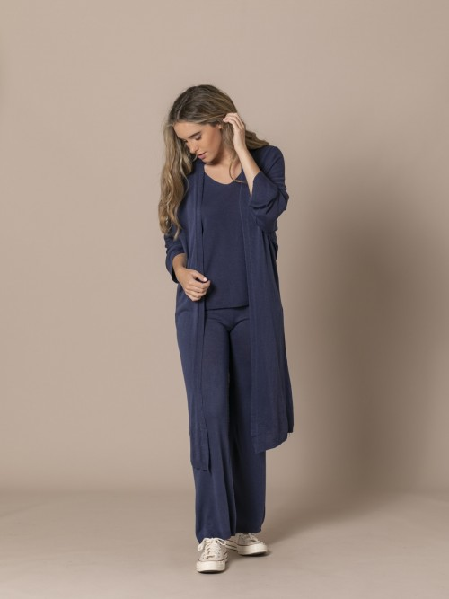 Woman Long Jacket Blue Navy