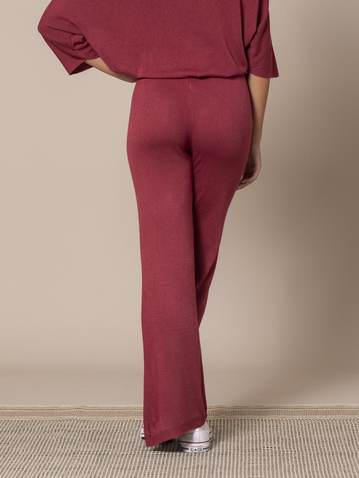 Pantalón mujer de punto Granate