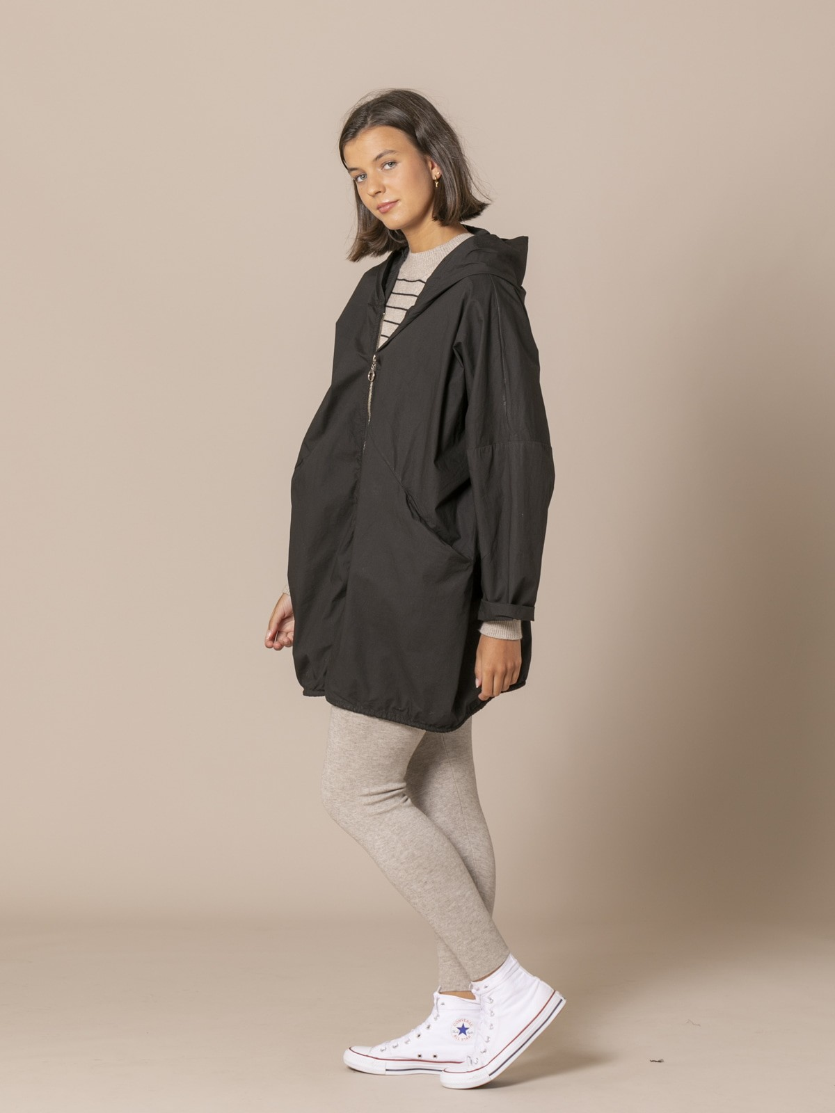 Woman Oversized plain parka Black