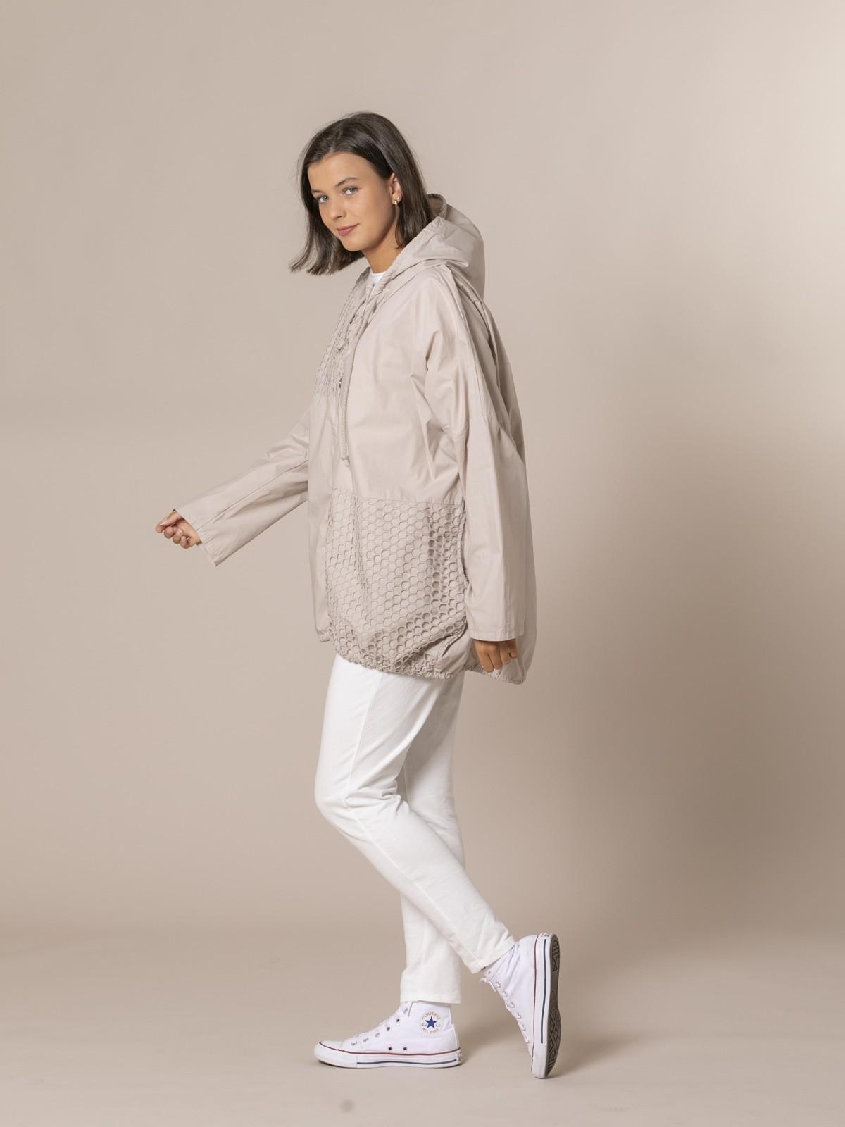 Woman Plain parka with net detail Beige