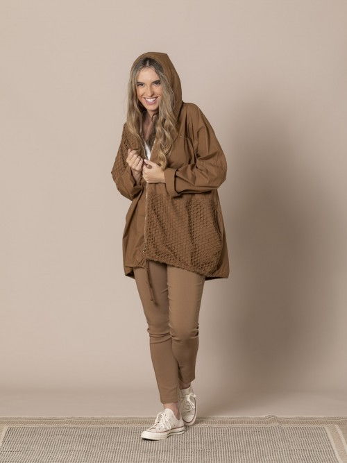 Woman Plain parka with net detail tabaco