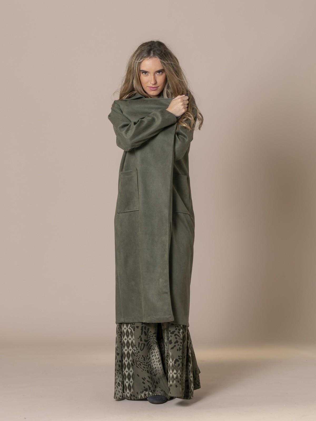 Abrigo mujer largo antelina Caqui
