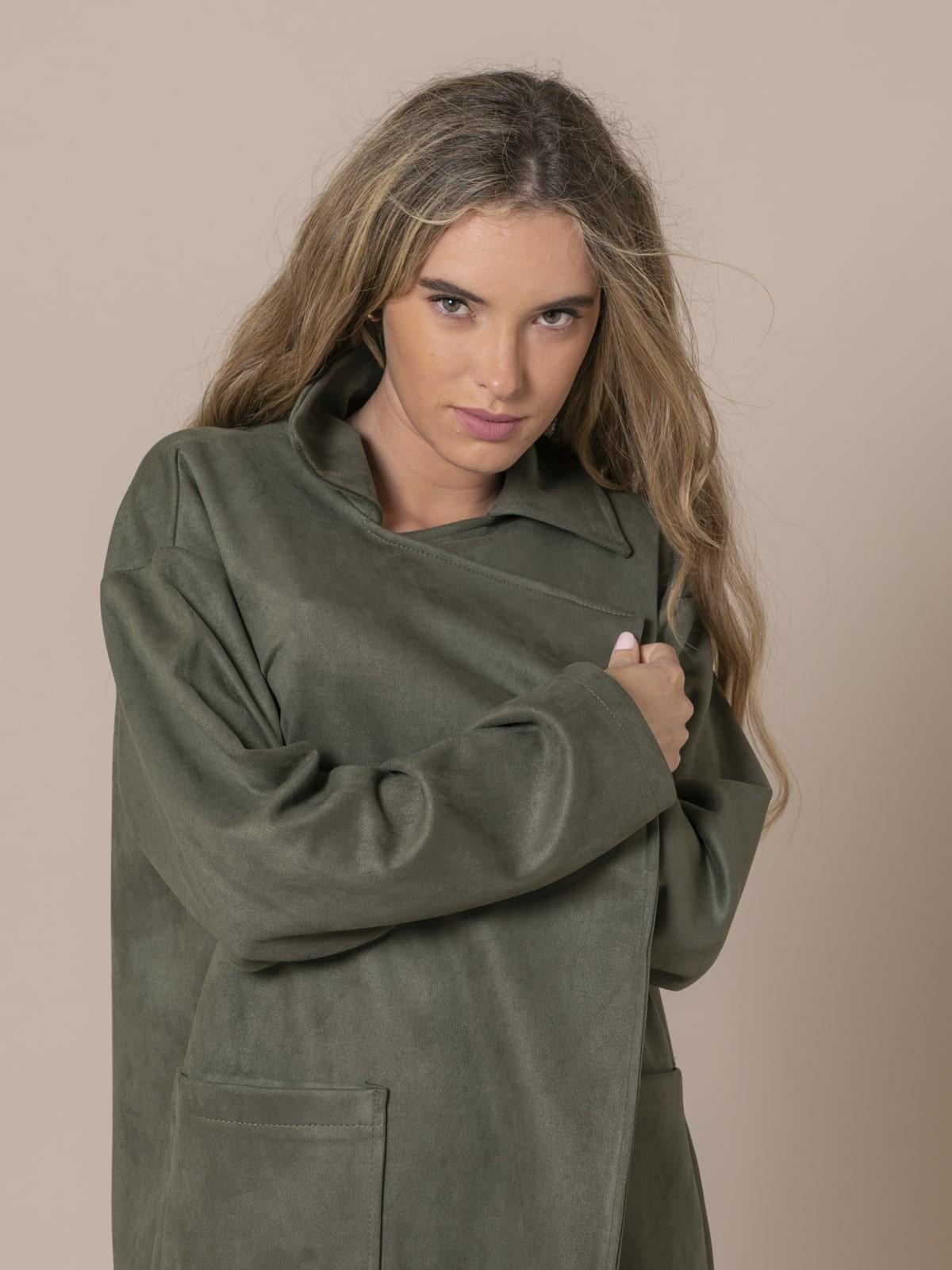 Woman Long suede coat Khaki