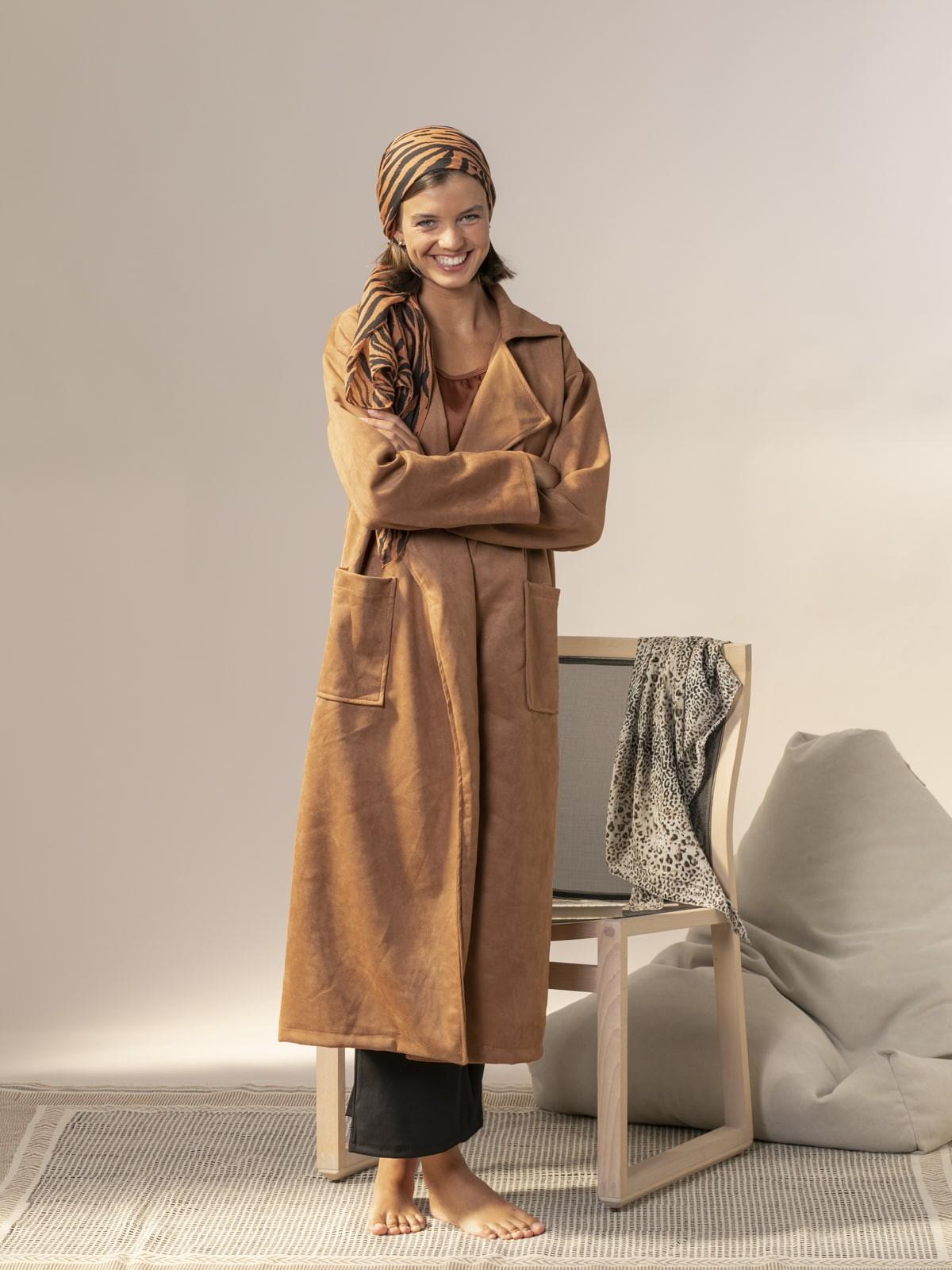 Woman Long suede coat Camel