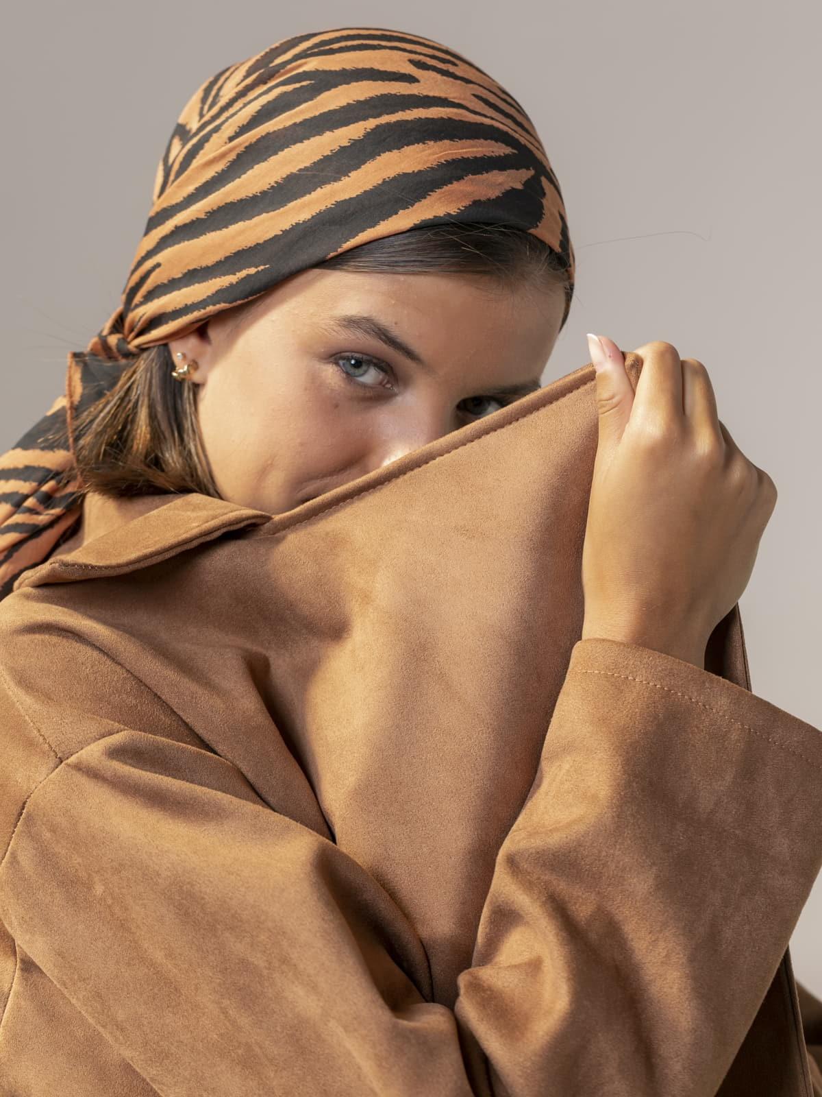 Abrigo mujer suede Camel