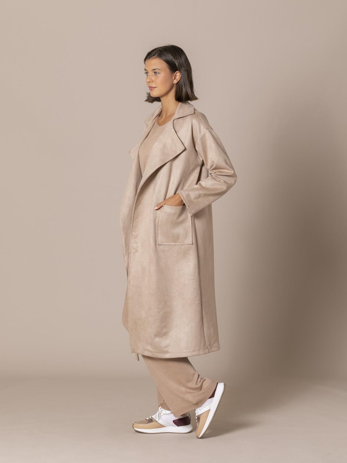 Woman Long suede coat Beige