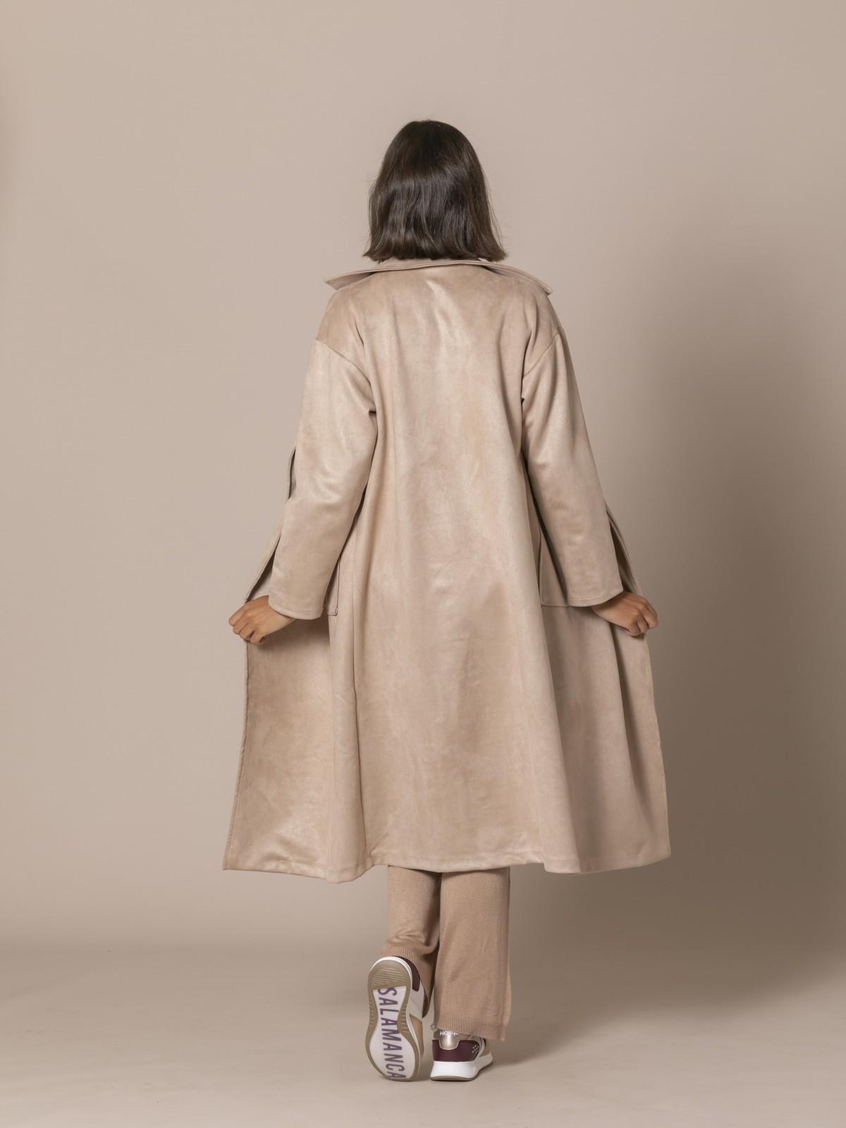 Abrigo mujer largo antelina Beige
