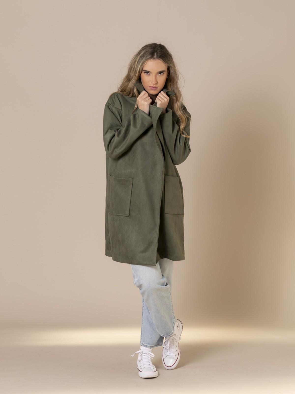 Woman Suede midi coat Khaki