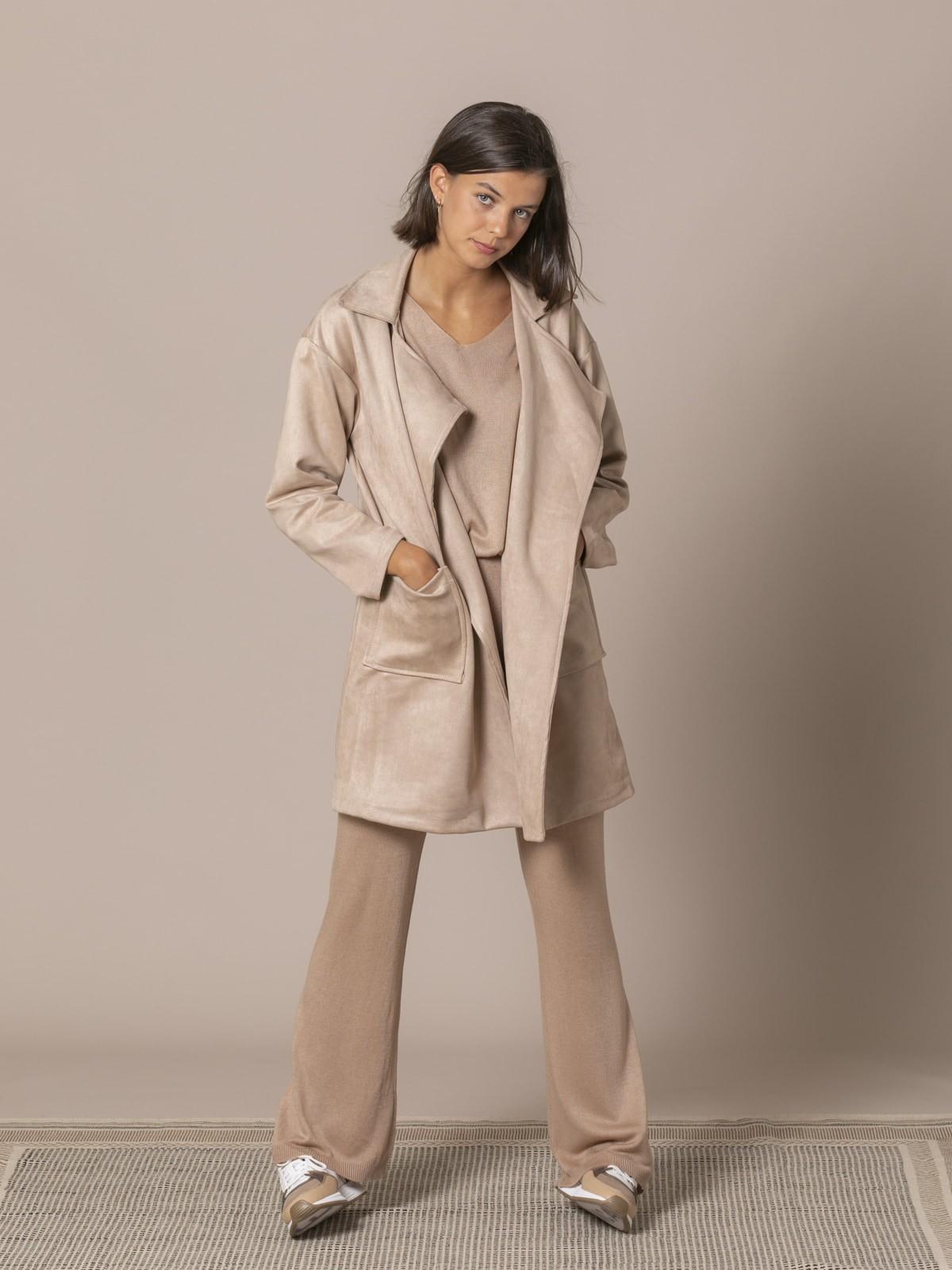 Woman Suede midi coat Beige