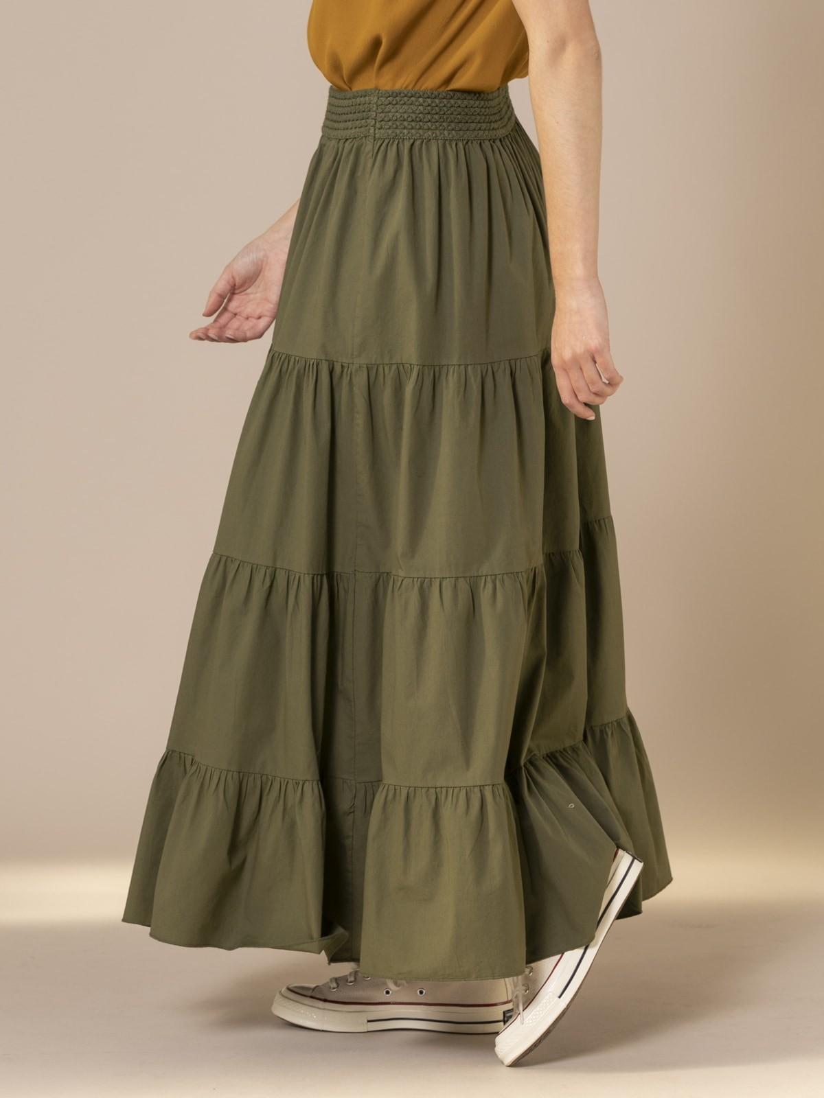 Falda larga cintura elástica Caqui
