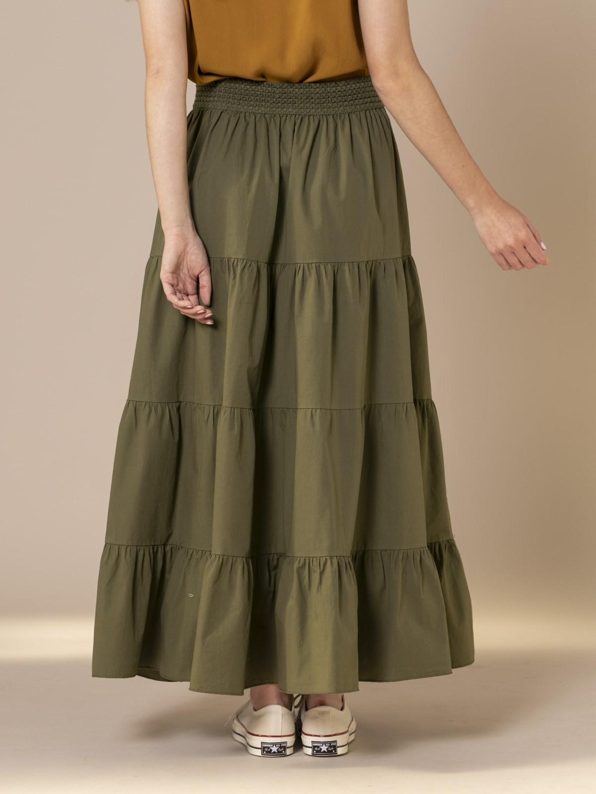 Woman Long skirt with elastic waist Khaki