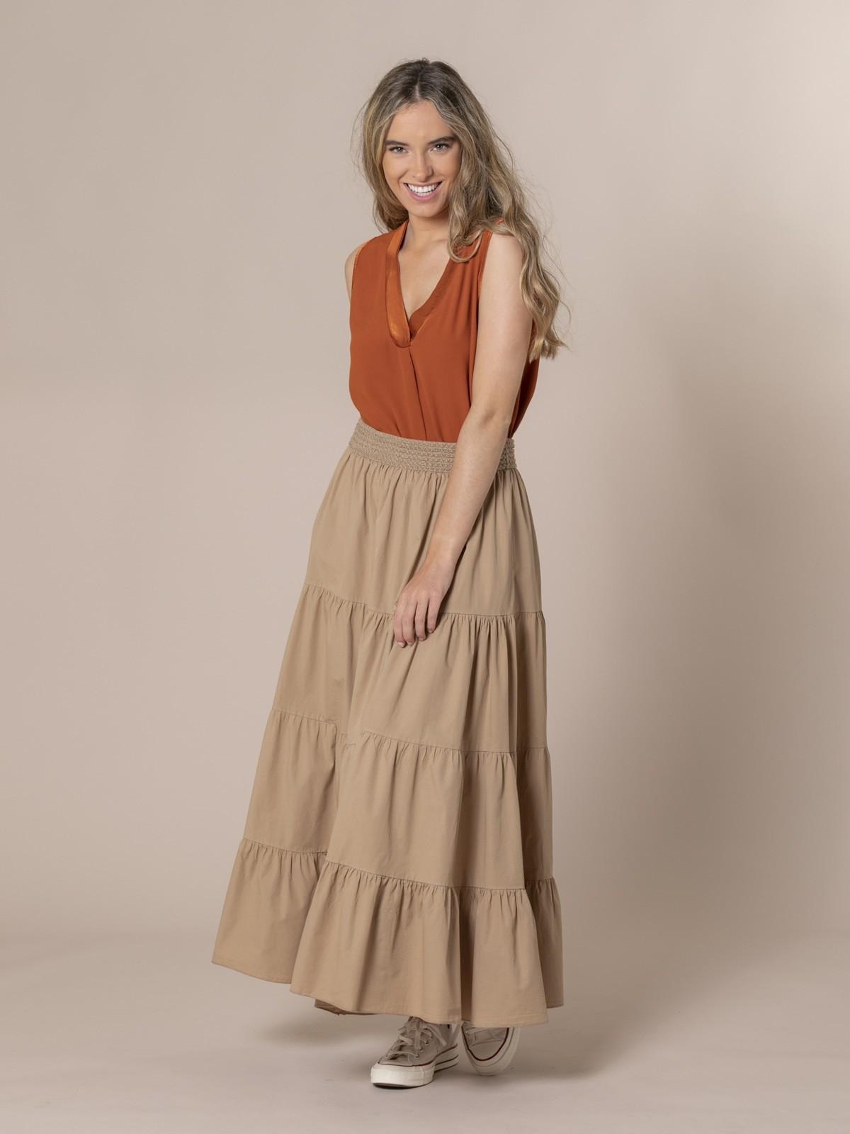 Falda larga cintura elástica Camel