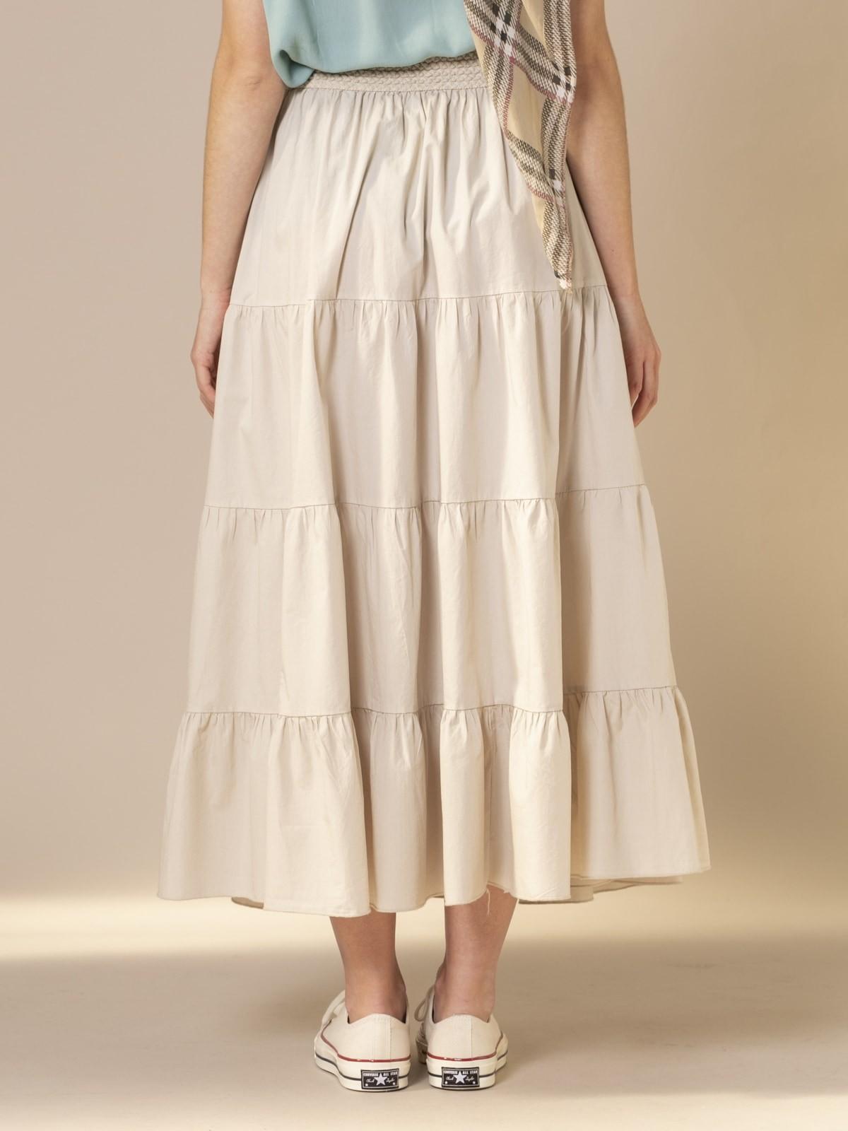 Woman Long skirt with elastic waist Beige