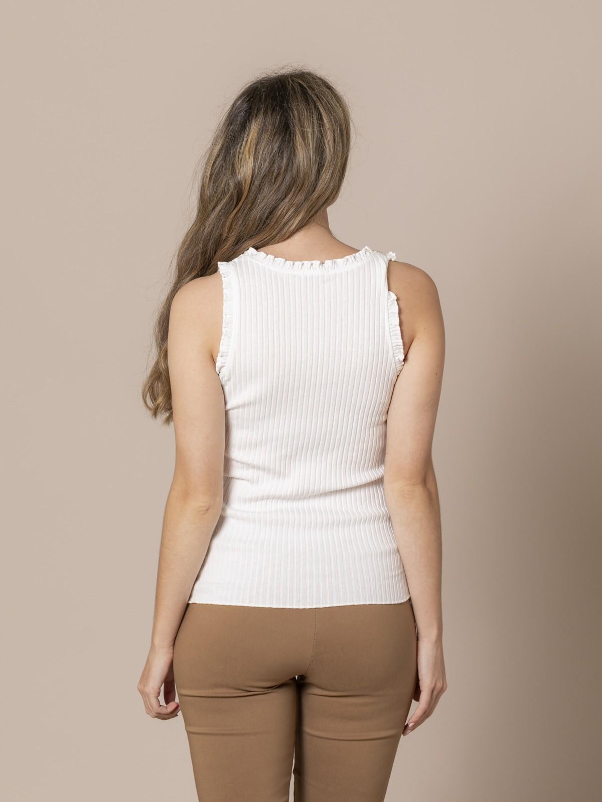 Camiseta mujer canalé y volantes Blanco