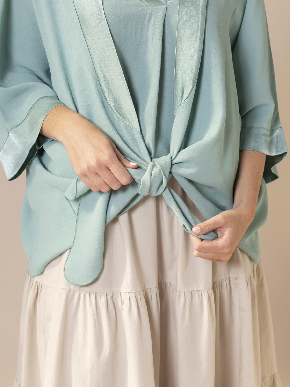 Woman Knotted fuida jacket Aqua