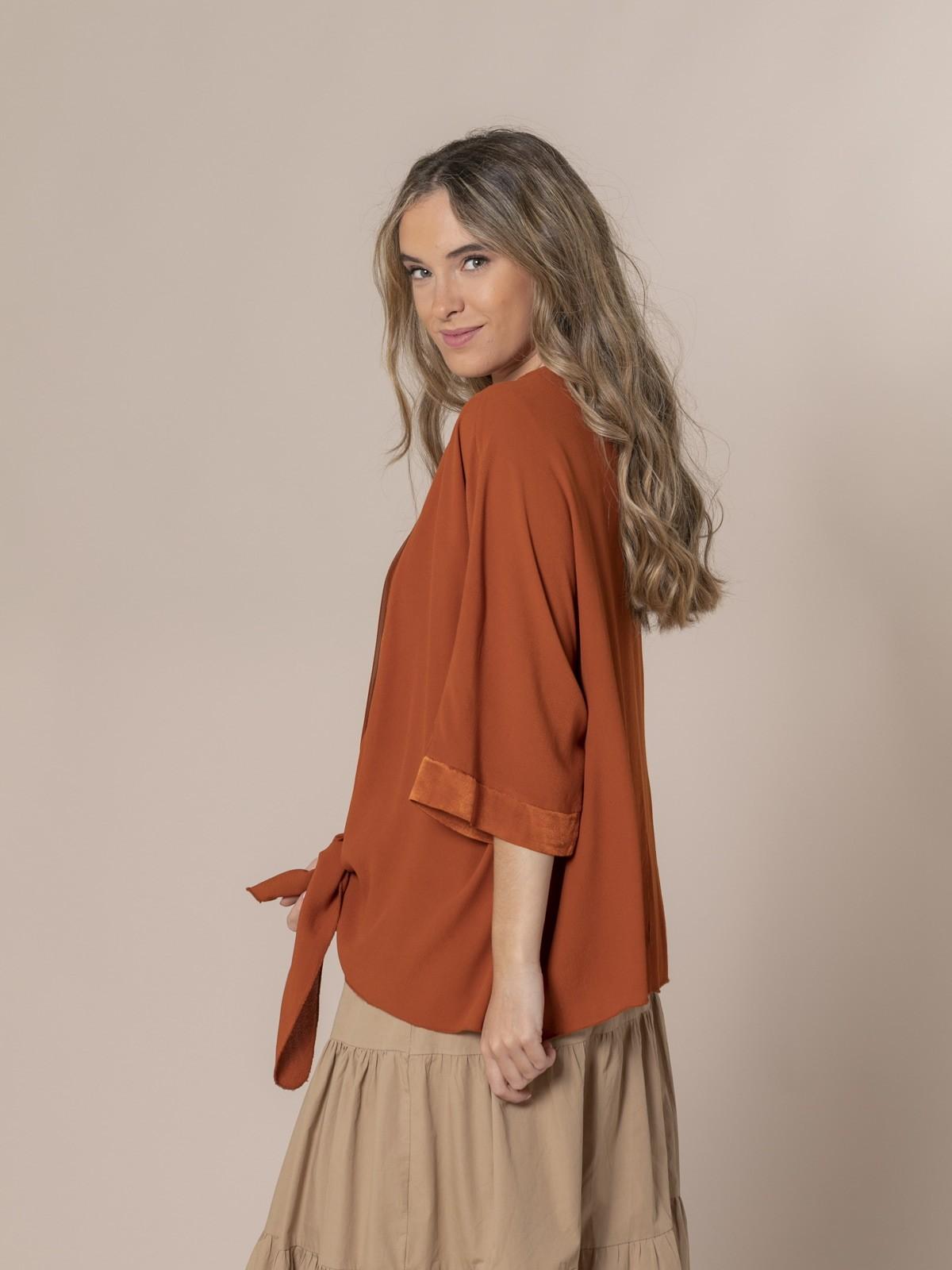 Woman Knotted fuida jacket Orange