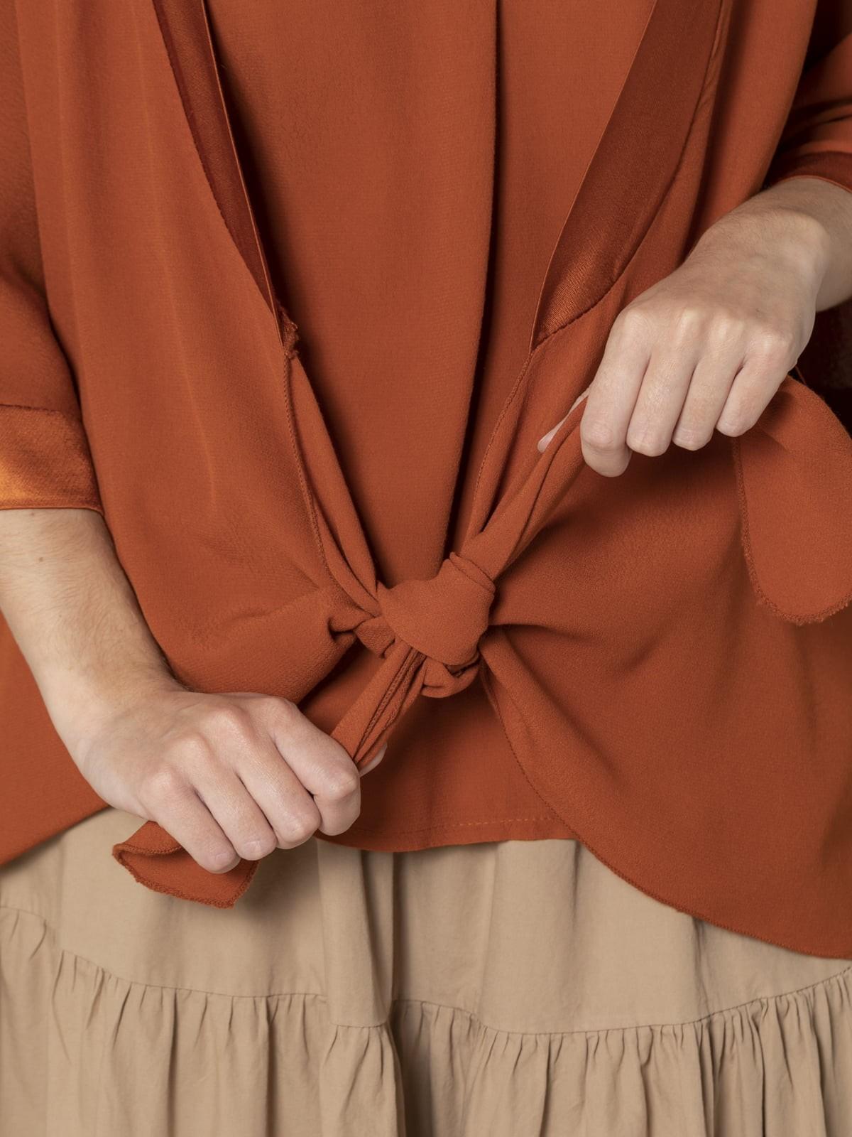 Chaqueta mujer fuida anudada Naranja