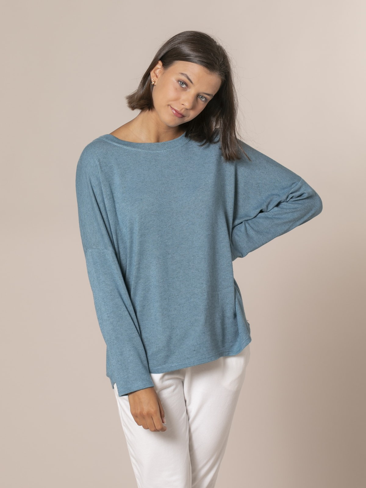 Jersey mujer oversize cuello barco Verde oscuro