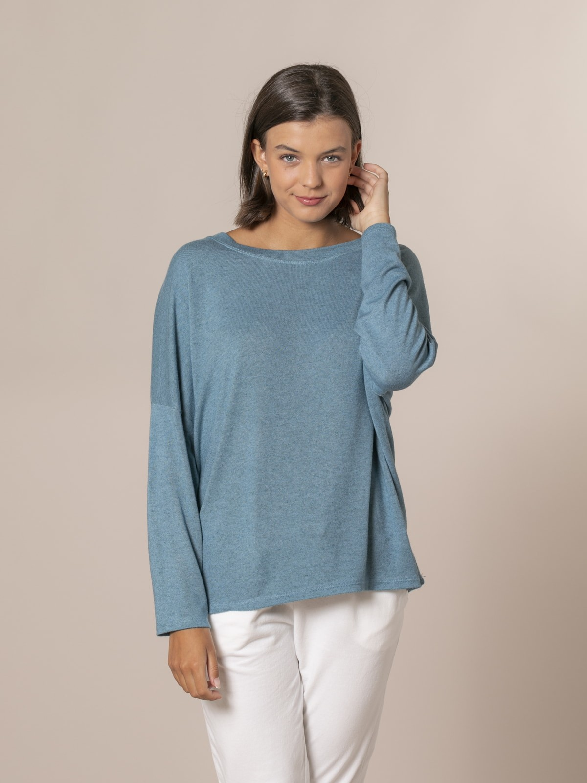 Woman Oversized boat neck sweater Green oscuro