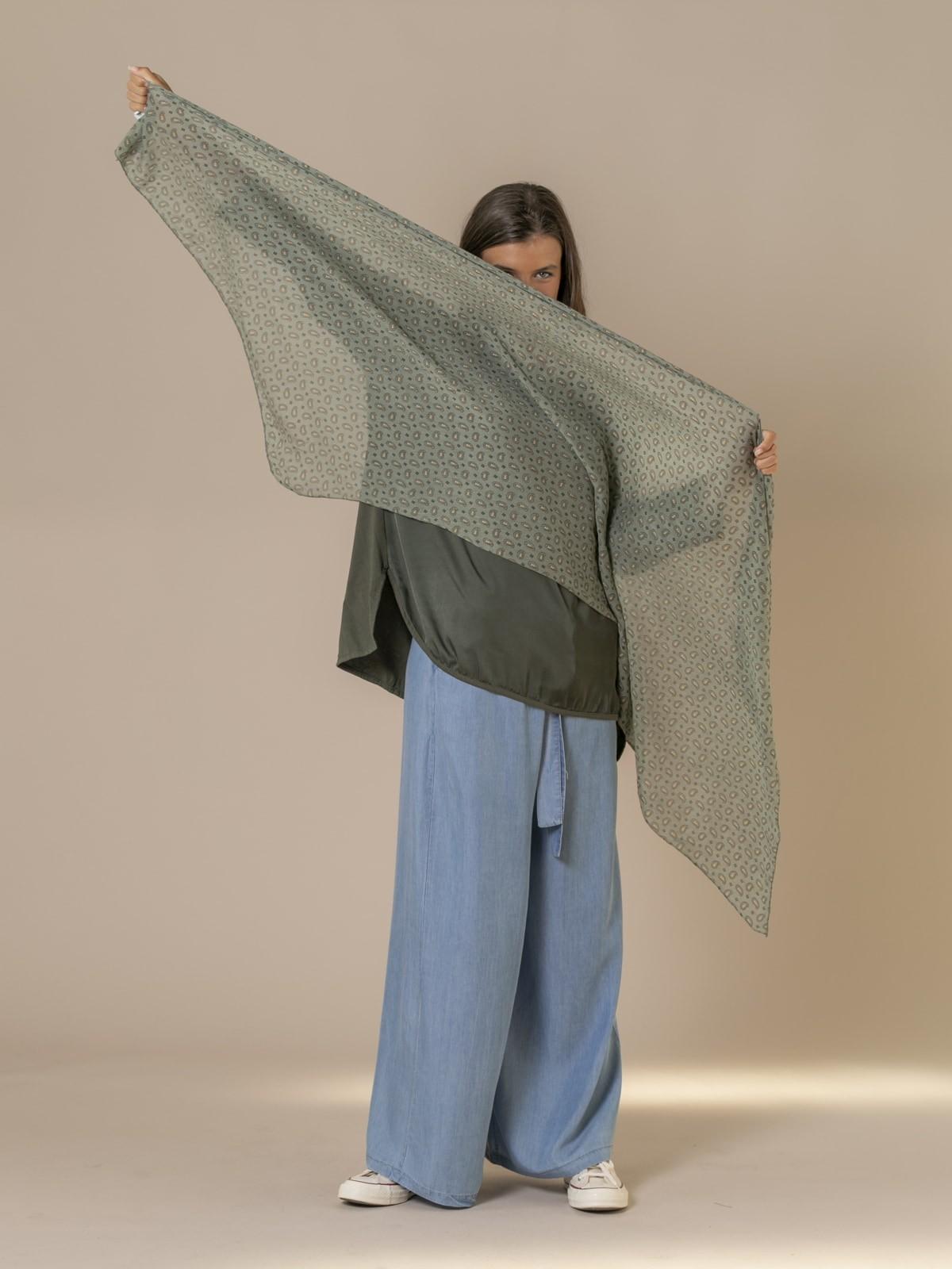 Woman Mini amoeba print scarf Khaki