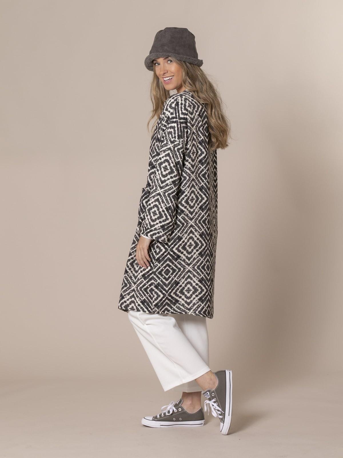 kimono estampado seventy Gris
