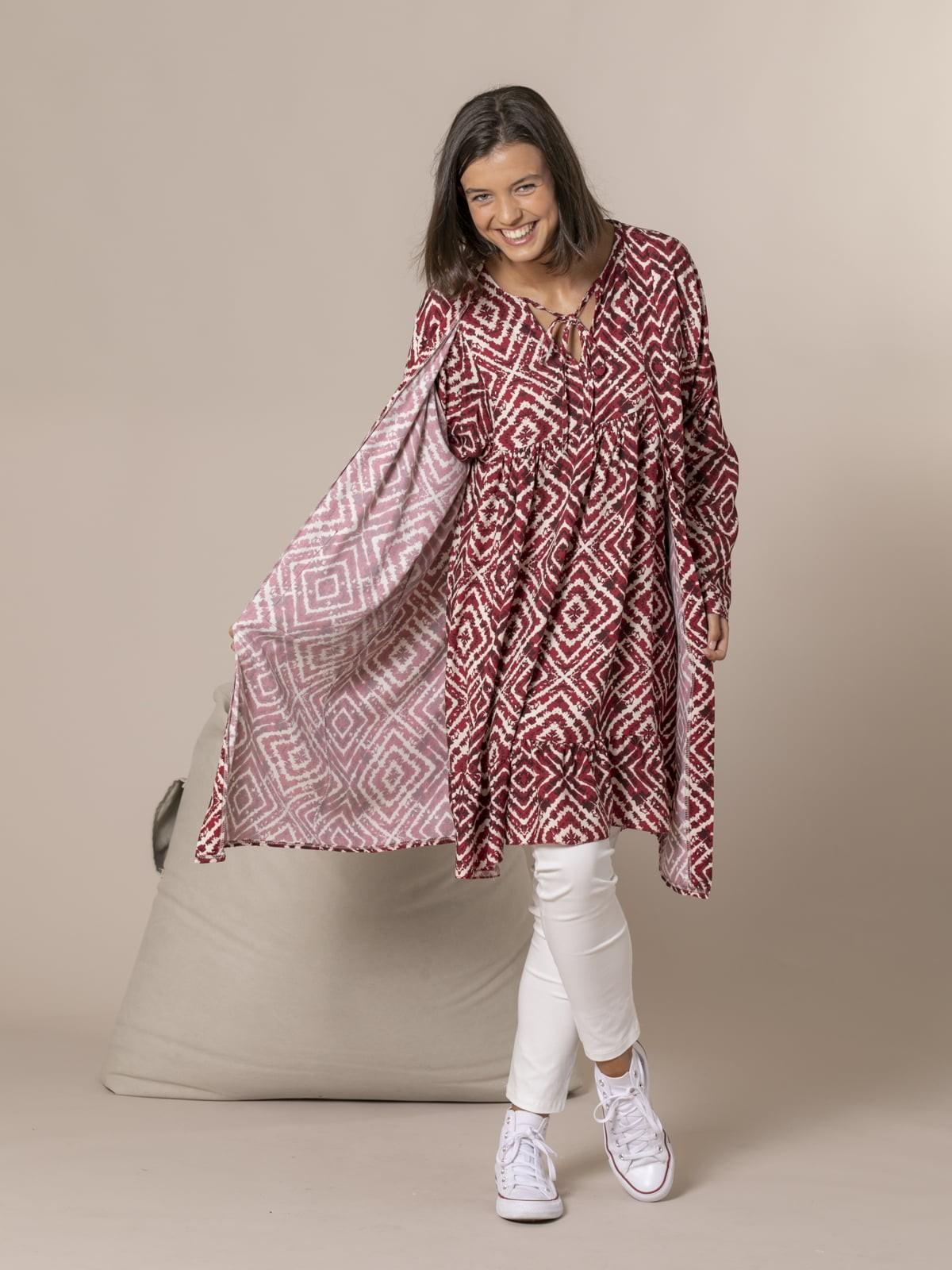 Woman seventy print kimono Bordeaux
