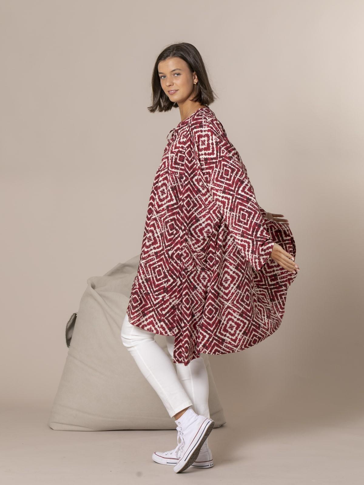 kimono estampado seventy Burdeos