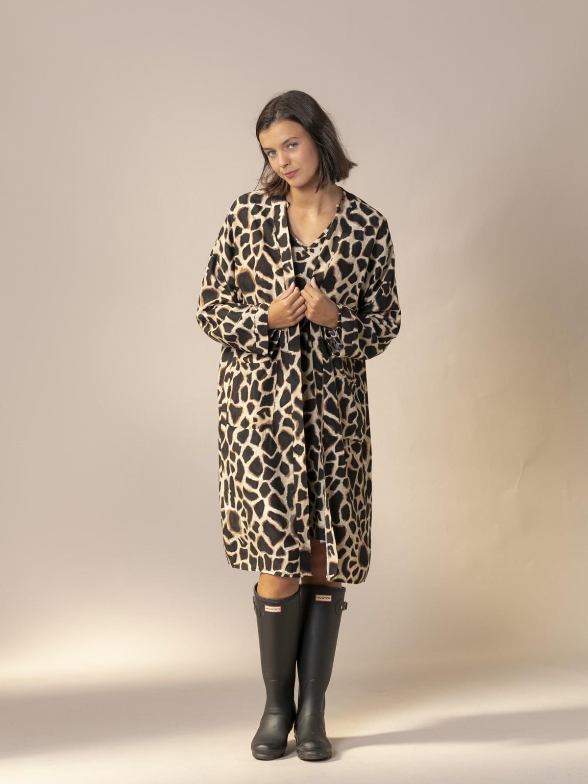 Woman Animal print kimono Black