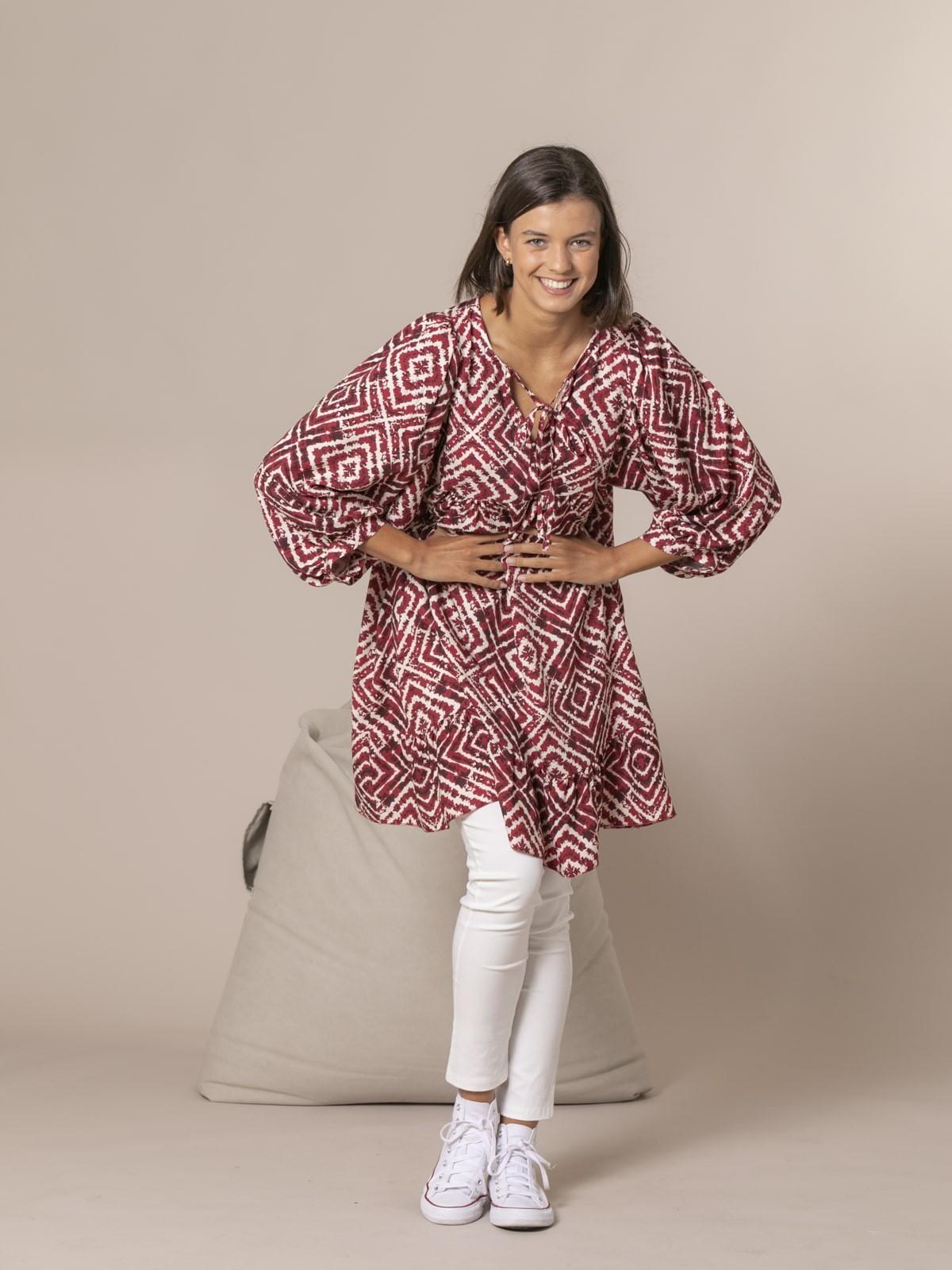 Vestido estampado seventy Granate