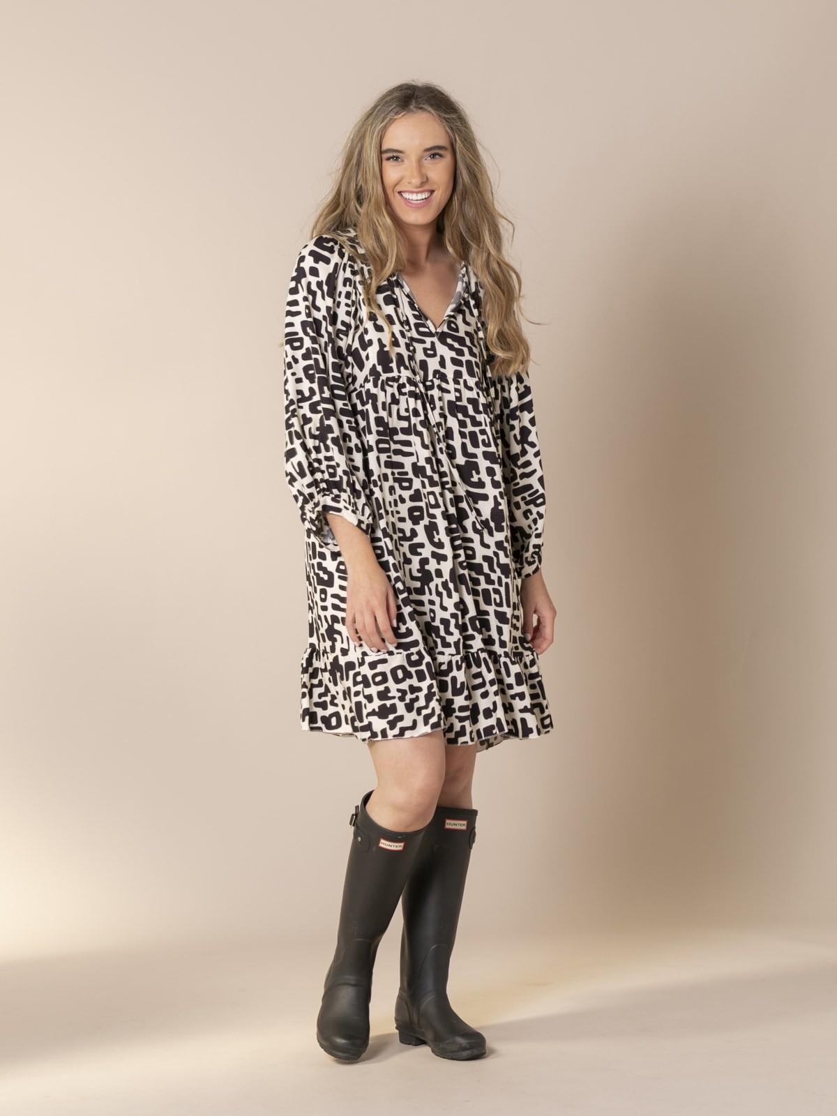 Woman Puff sleeve printed dress Grey