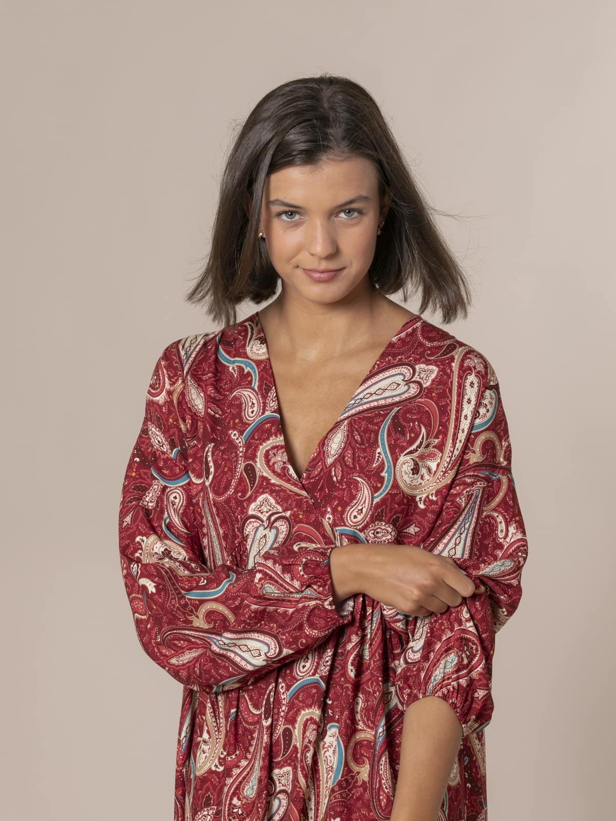 Woman Etro print dress Granate