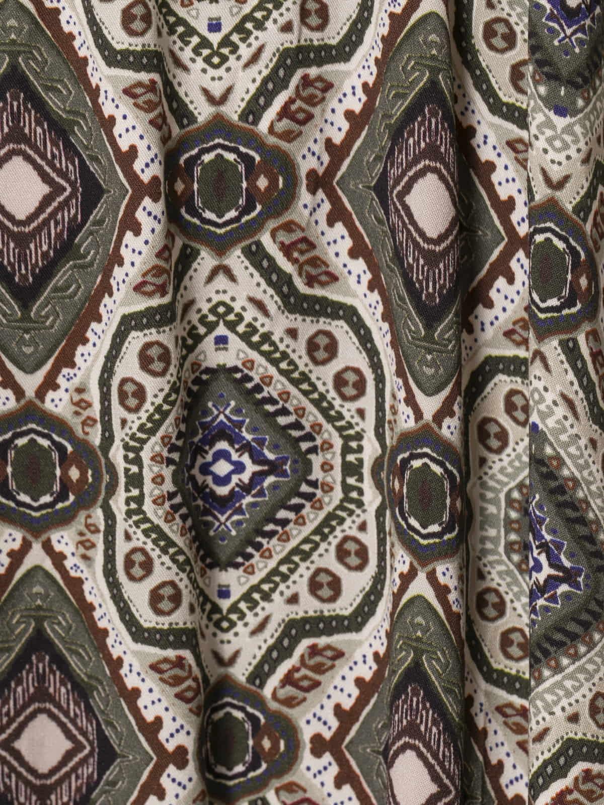Woman V-neck print dress Khaki