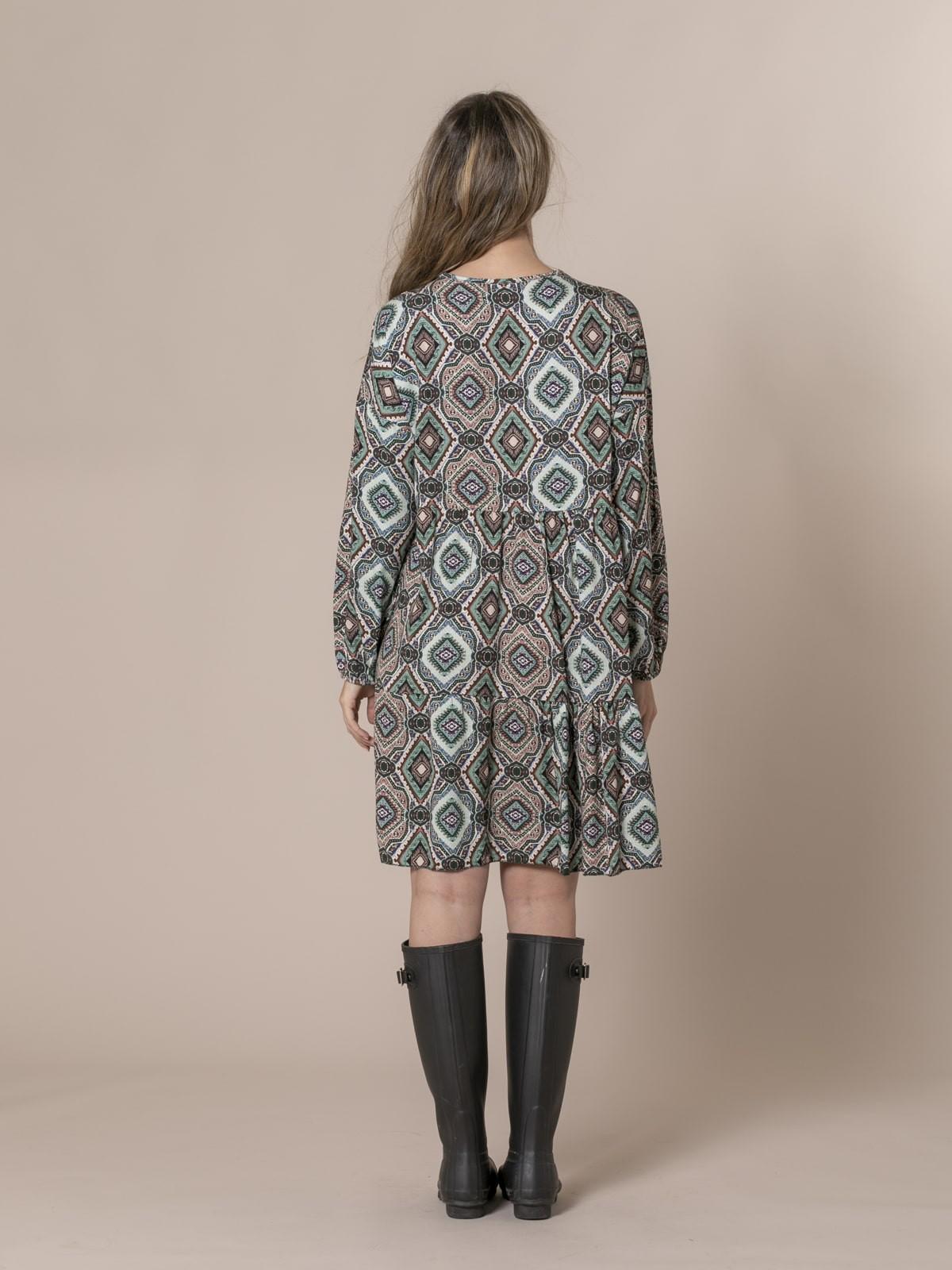 Woman V-neck print dress Beige