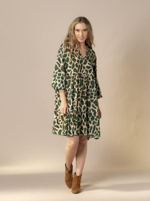 Woman Oversized animal print midi dress Green botella