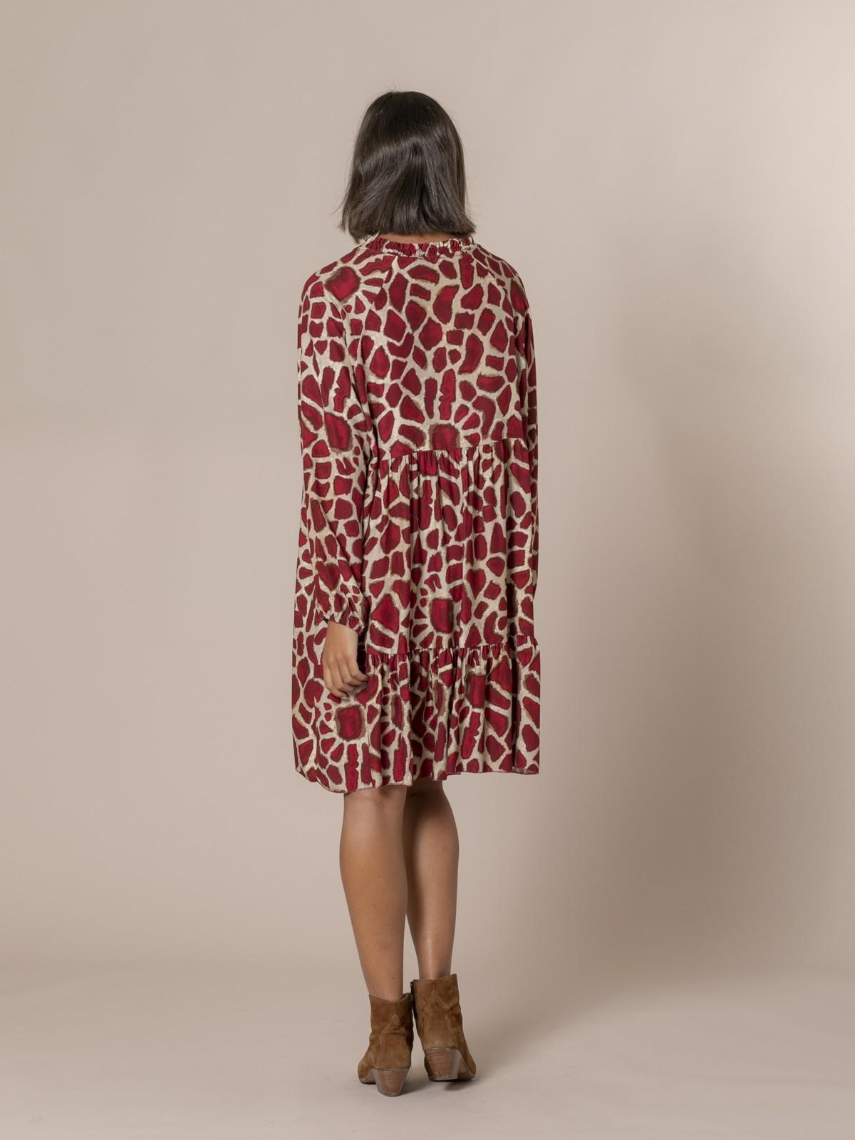 Woman Oversized animal print midi dress Granate