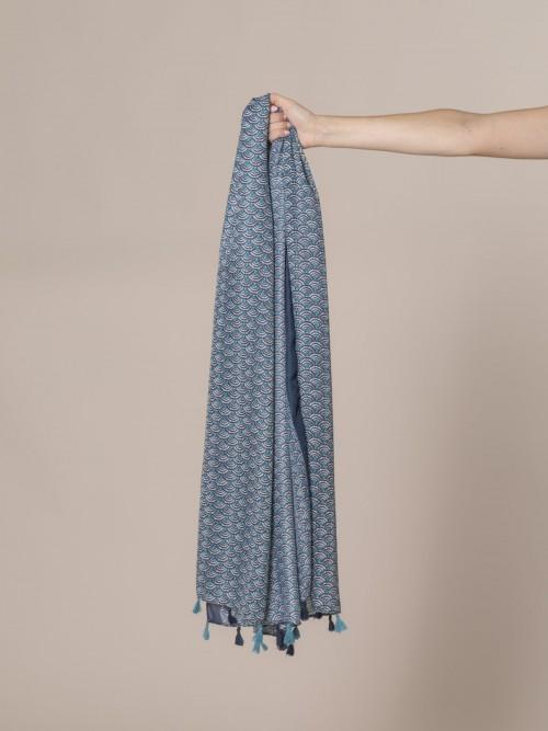Fular mujer estampado soft Azul