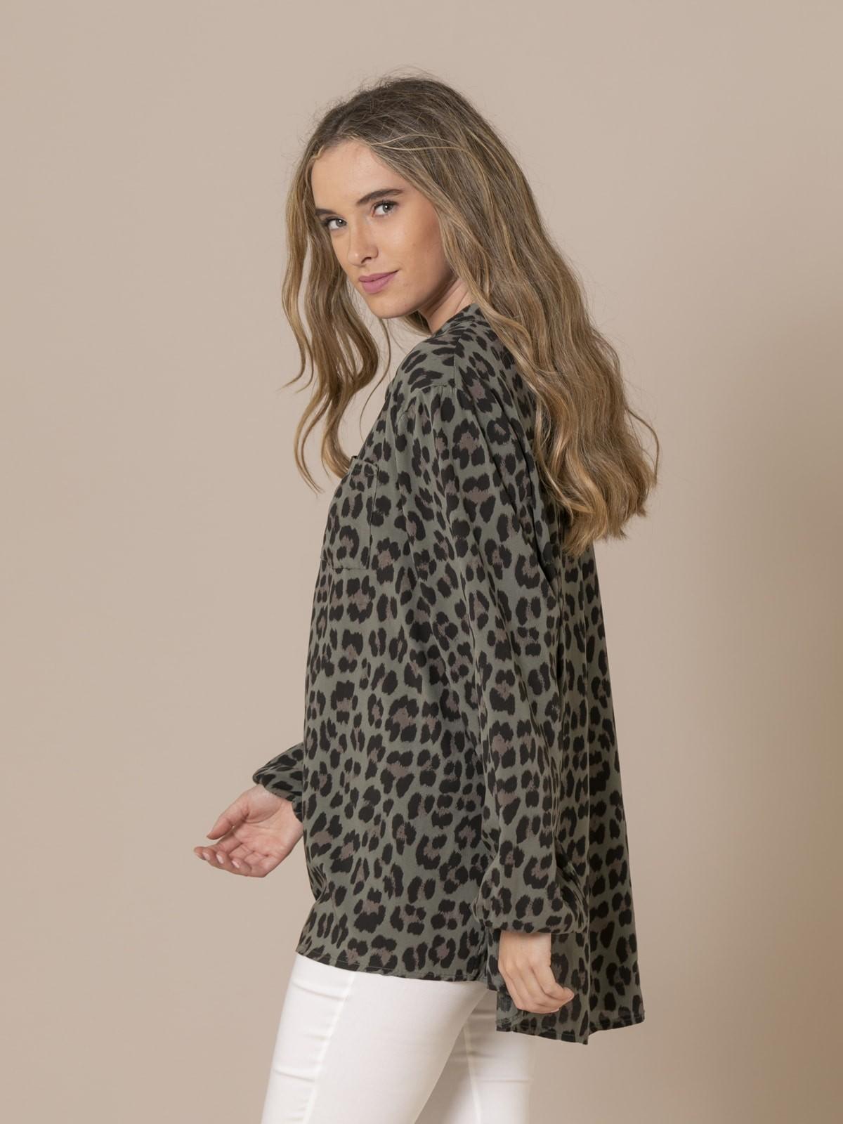 Woman Animal print button shirt Khaki